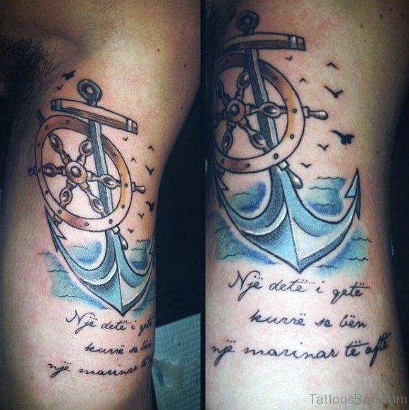 Anchor And Ship Wheel Tattoos