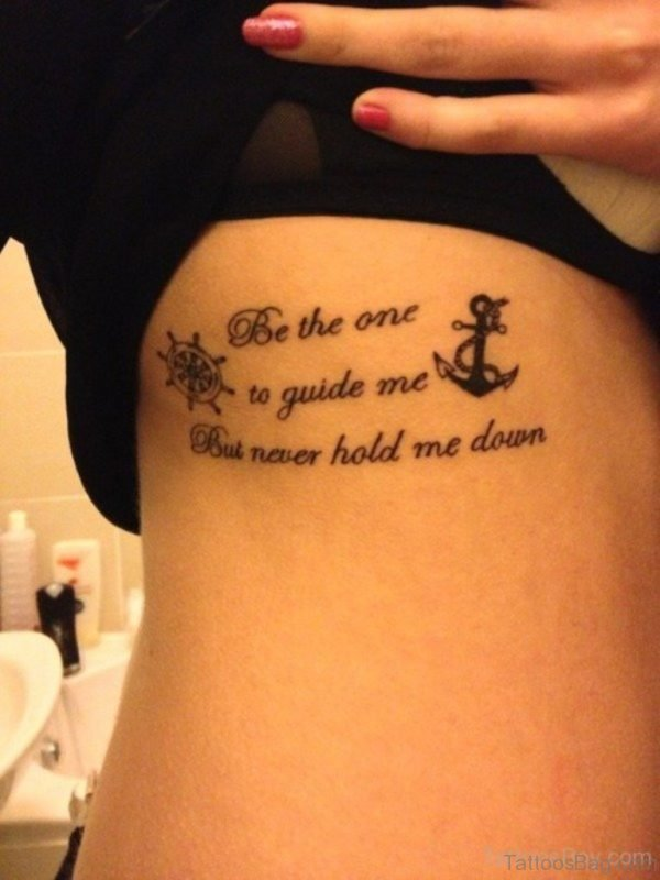 Anchor And Wording Tattoo