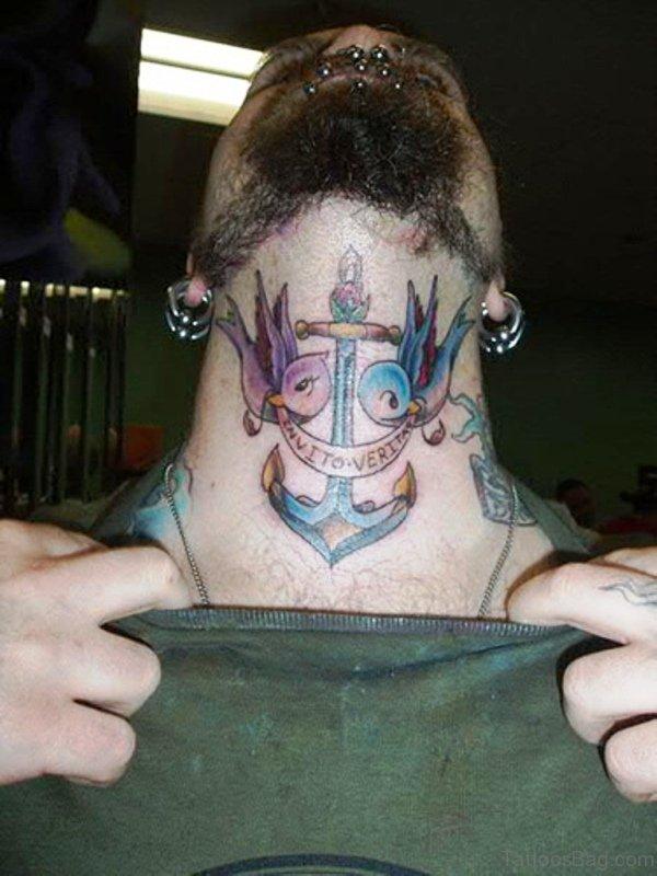 Anchor Bird Tattoo On Neck