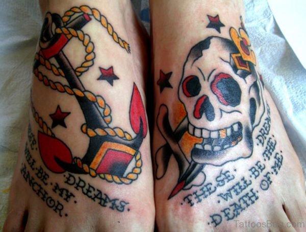 Anchor Skull Tattoo On Feet