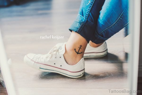 Anchor Tattoo Design On Ankle