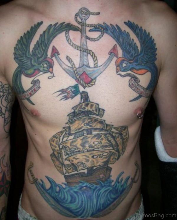 Anchor Tattoo On Chest