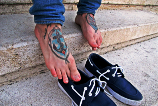Anchor Tattoo On Foot Pic