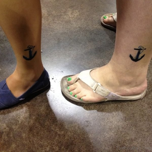 Anchor Tattoo On Left Ankle