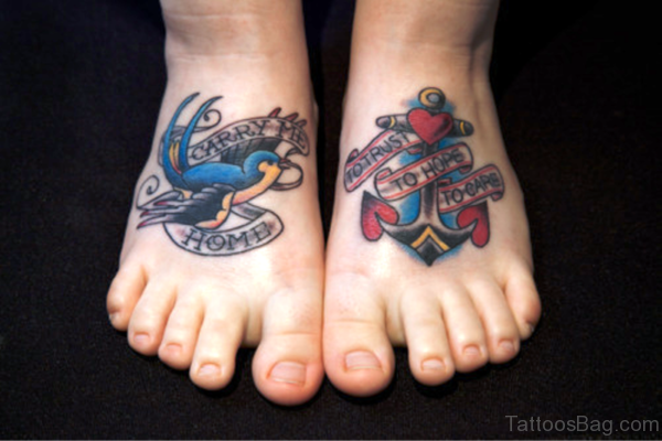 Anchor Tattoo With Bird Design On Feet