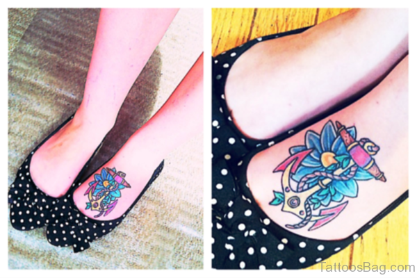 Anchor Tattoo With Flower On Foot