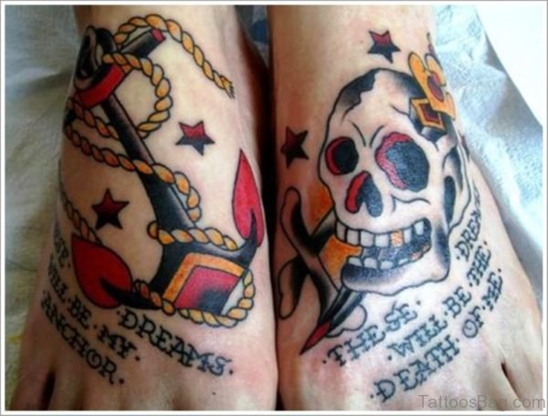 Anchor With Skull Tattoo With Foot