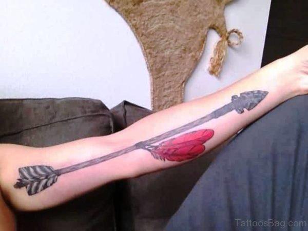 Ancient Long Arrow Tattoo On Arm