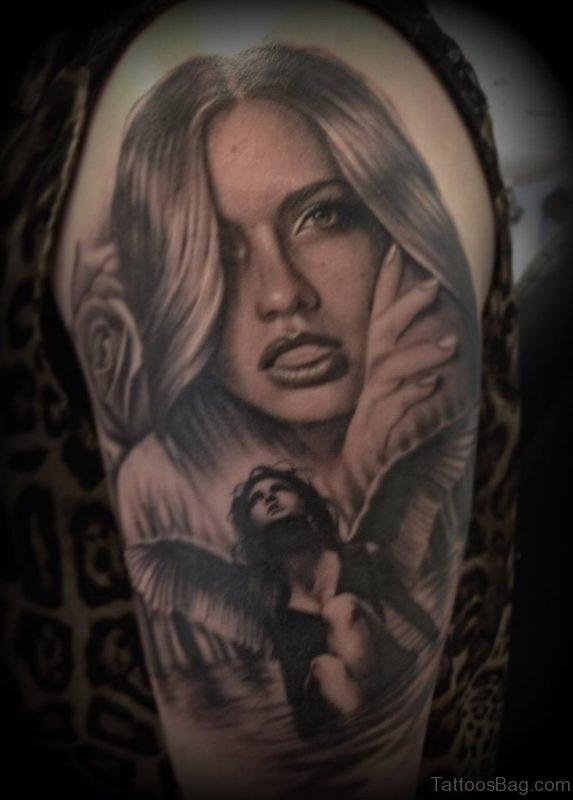 Angel And Girl Portrait Tattoo