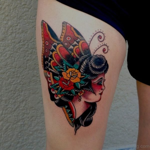Angel Big Butterfly Tattoo On Thigh