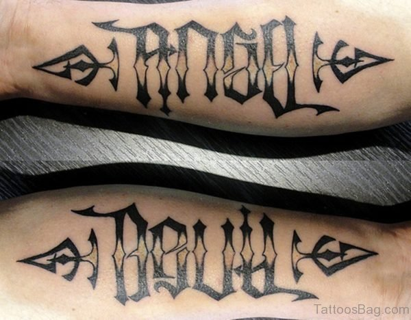 Angel Devil Ambigram Tattoo