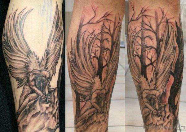 Angel Girl Tattoo On Leg