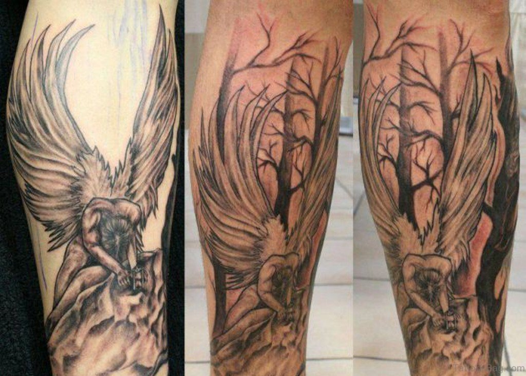 60 loveable angel tattoos for leg. Black Bedroom Furniture Sets. Home Design Ideas