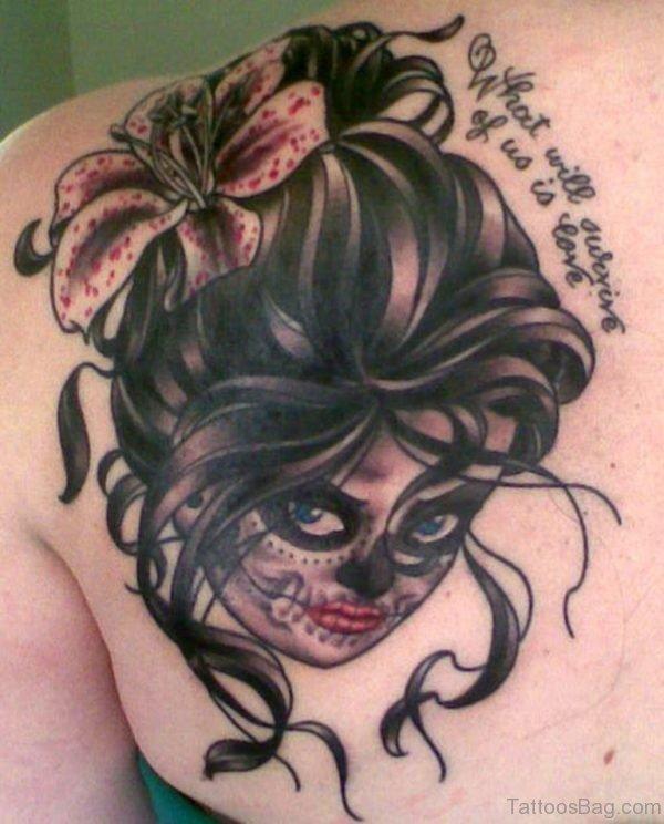 Angel Girl With Evil Mask Tattoo On Back Shoulder