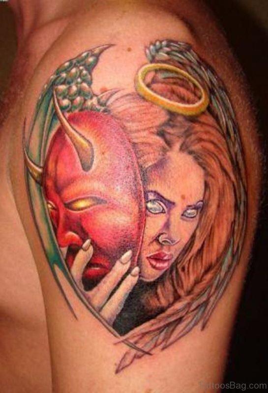Angel Girl With Evil Mask Tattoo On Shoulder