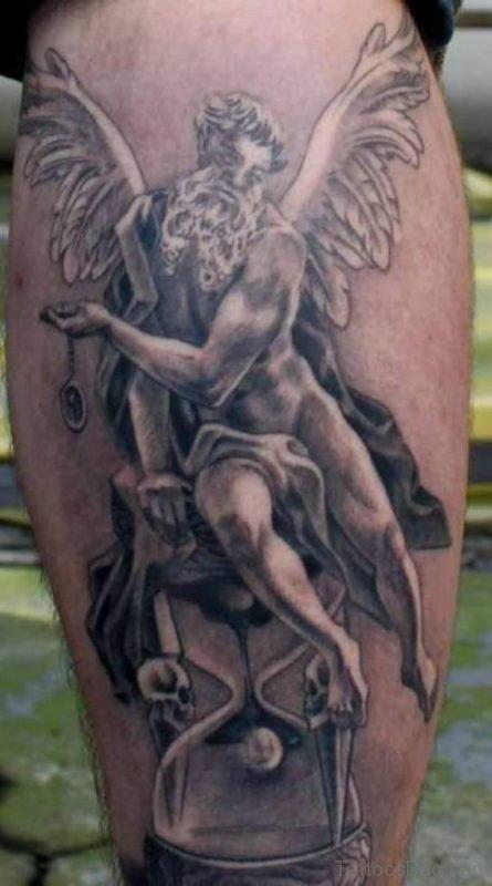 Angel Leg Tattoo Design