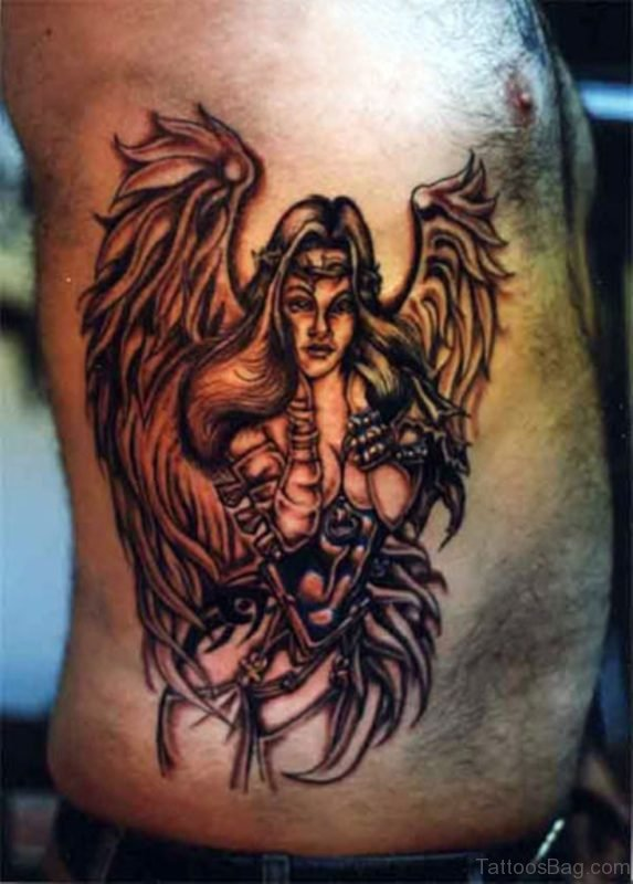 Angel Tattoo Design On Rib 1