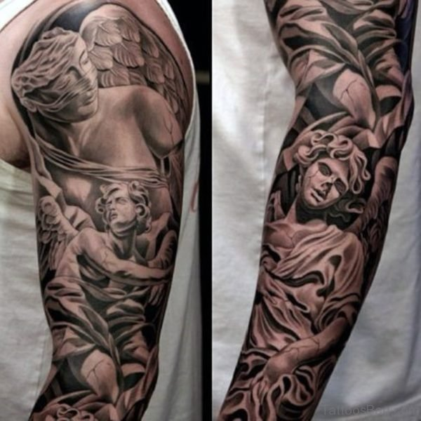 Angel Tattoo On Full Sleeve Tattoo