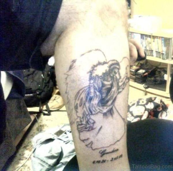 Angel Tattoo On Left Leg