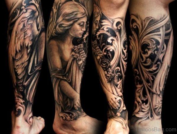 Angel Tattoo On Leg