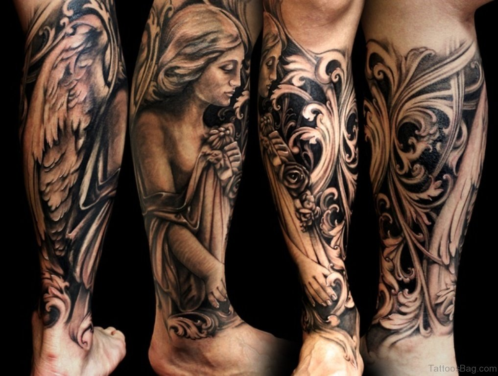 60 loveable angel tattoos for leg for Pictures leg tattoos