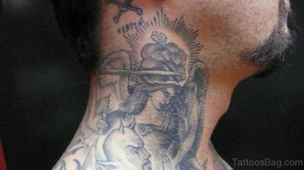 Angel Tattoo On Neck
