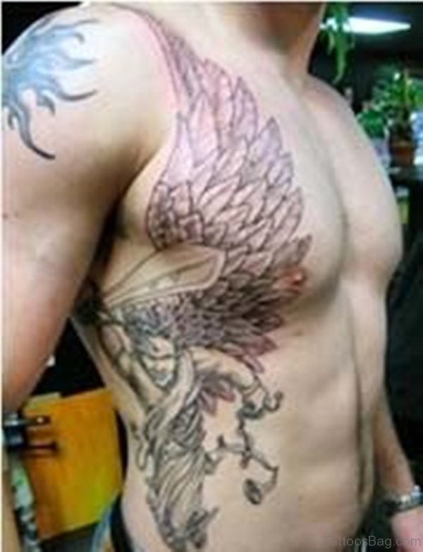 Angel Tattoo On Rib Side