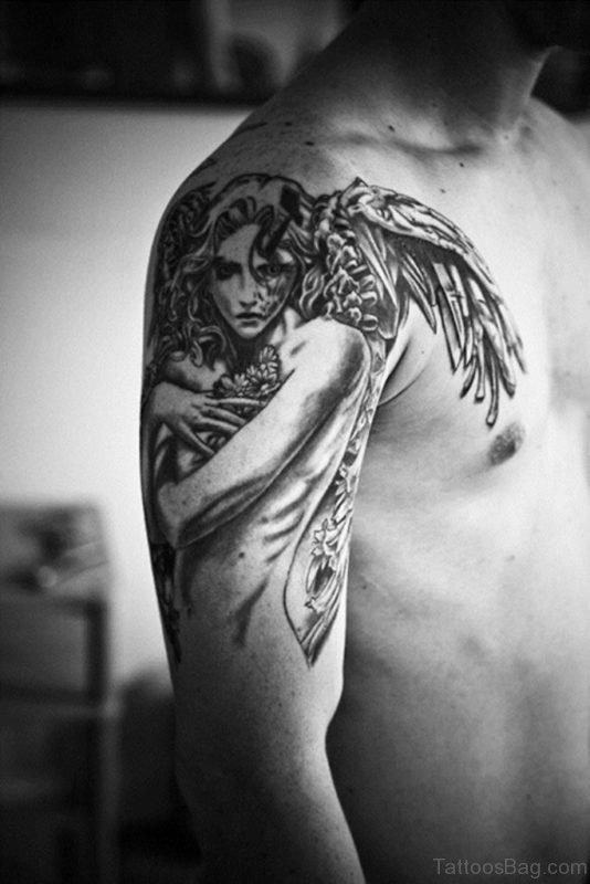 Angel Wings Shoulder Tattoo Design
