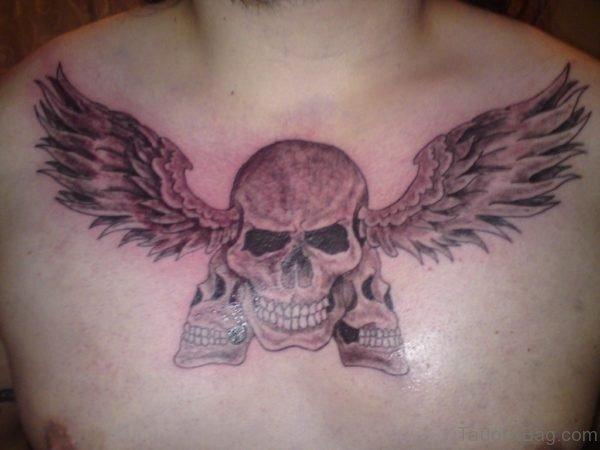 Angel Wings Skull Tattoo On Chest
