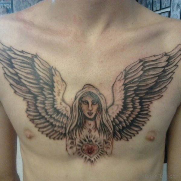 Angel Wings Tattoo On Chest