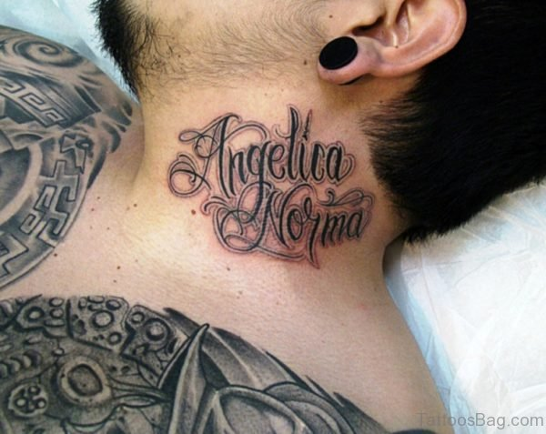 Angelica Norma Letters Tattoo On Neck