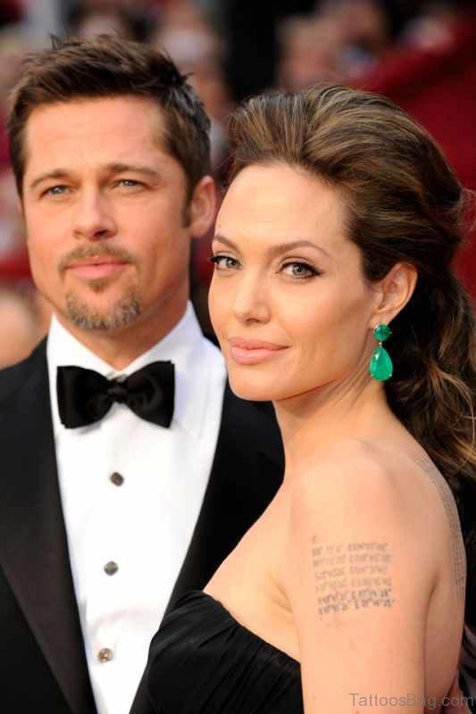 Angelina Jolie Left Shoulder Tattoo