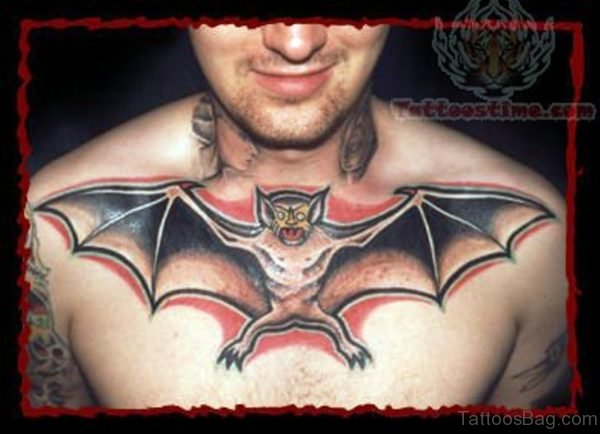 Angry Bat Tattoo On Chest