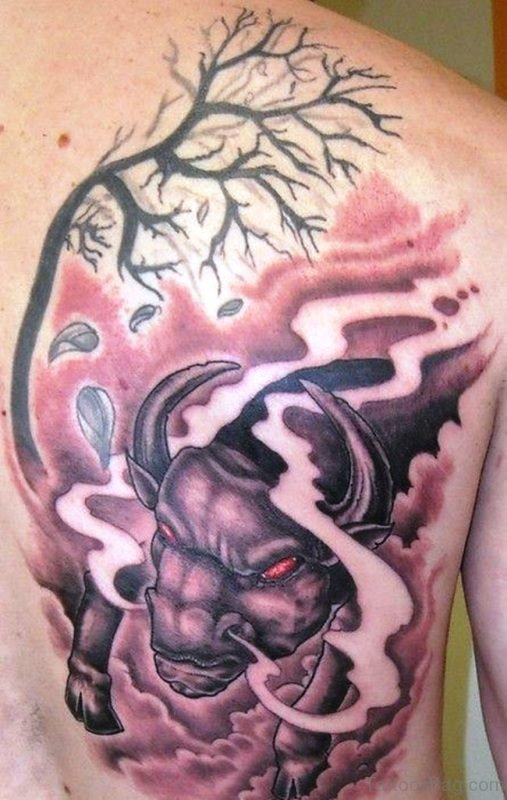 Angry Bull With Tree On Back Shoulder