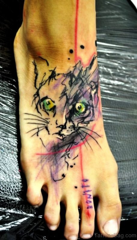 Angry Colorful Cat Tattoo On Foot