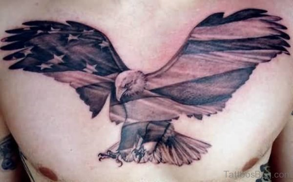 Angry Eagle With Flag Tattoo On Chest
