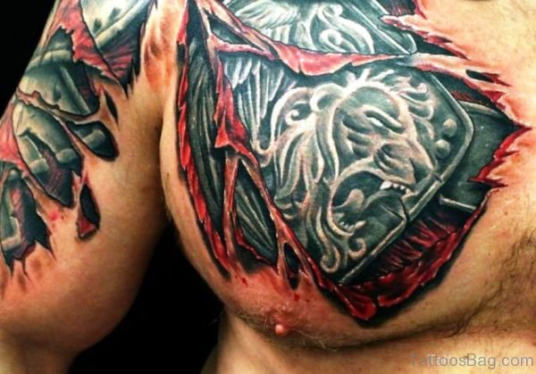 Angry Lion Armour Tattoo On Chest