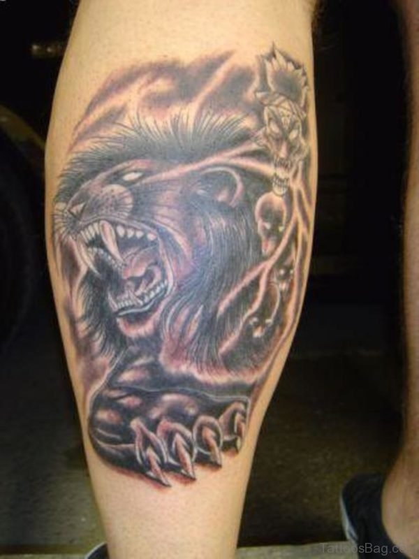 Angry Lion Tattoo Design On Leg
