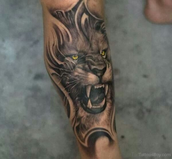 Angry Lion Tattoo On Leg