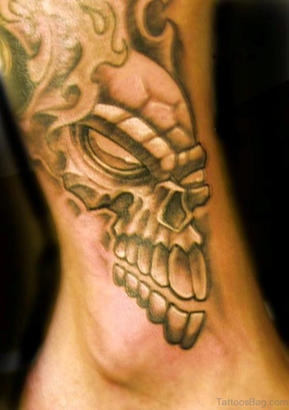 Angry Skull Clown Tattoo On Ankle