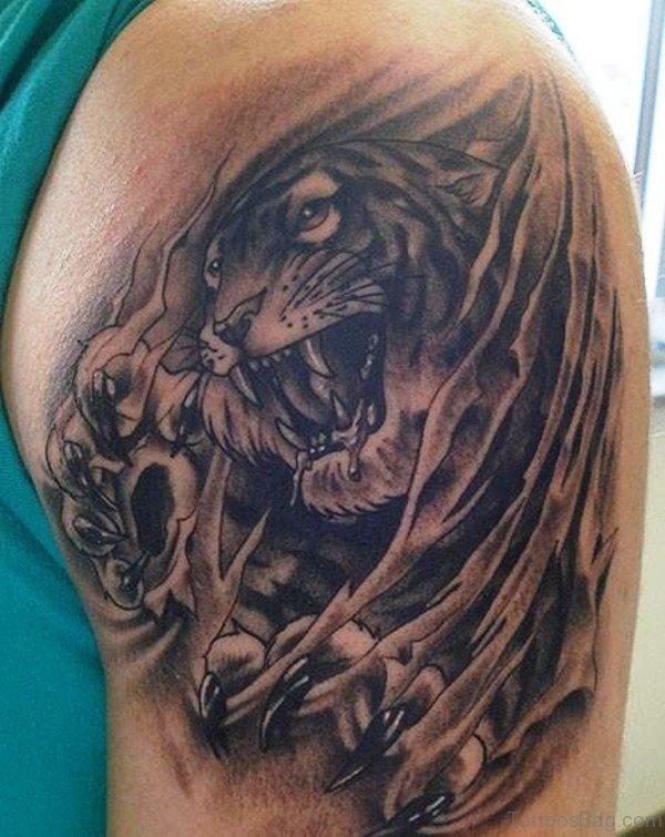 50 impressive tiger tattoos on shoulder. Black Bedroom Furniture Sets. Home Design Ideas