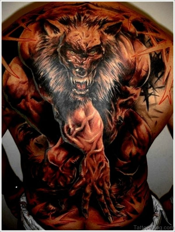 Angry Wolf Tattoo On Back