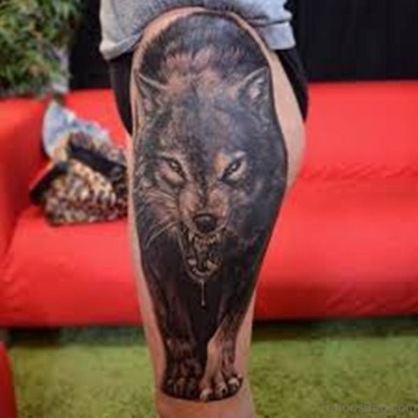 Angry Wolf Tattoo On Thigh