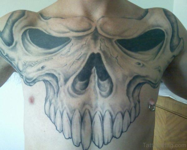 Animal Skull Tattoo On Chest