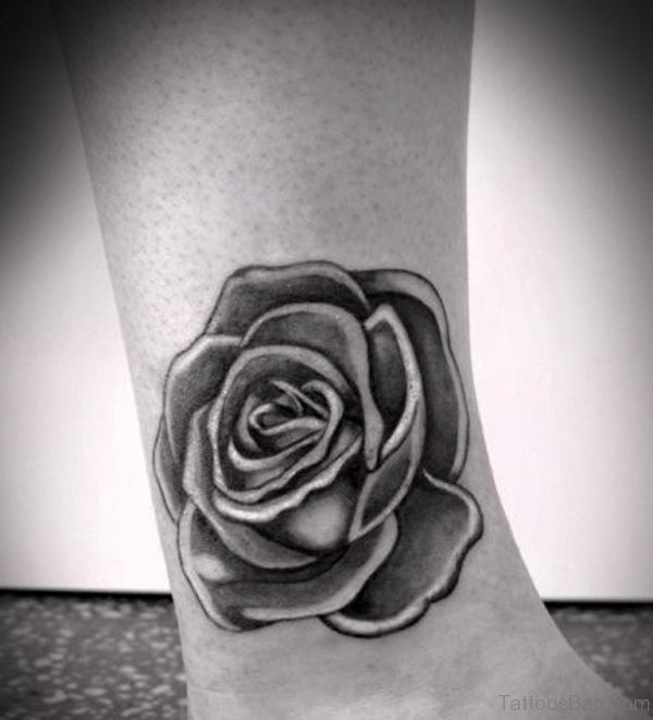 Ankle Black Rose Tattoo
