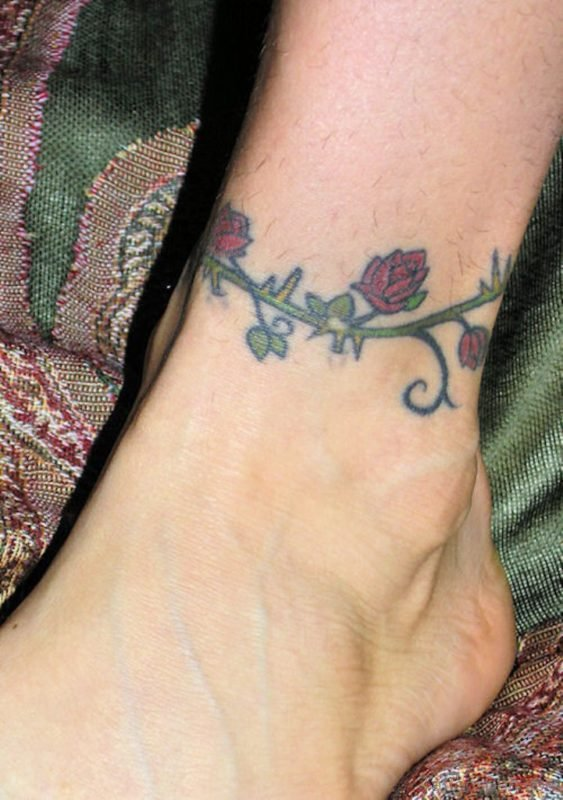 Ankle Black Rose Tattoo Image