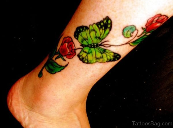 Ankle Roses Tattoo Design