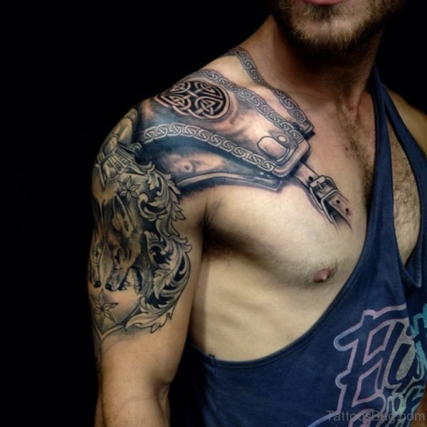 Armor Tattoo On Chest