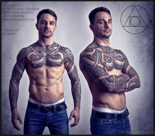 Armour Tattoo On Chest For Men