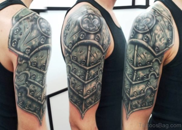 Armour Tattoo On Right Shoulder